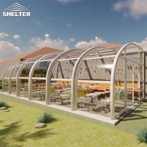 餐厅阳光房-室外移动阳光房-靠墙伸缩阳光房