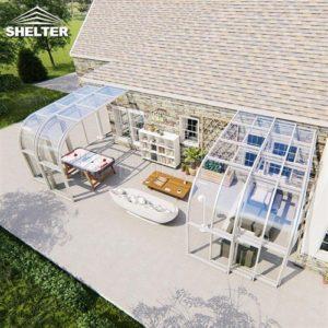 室外茶室阳光房-靠墙弧形阳光房-赛尔特智能伸缩阳光房
