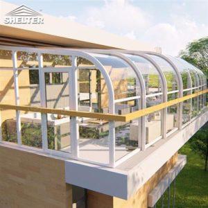 二楼露台阳光房侧视-赛尔特智能移动阳光房-现代简约风格阳光房