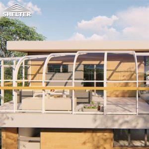 二楼露台阳光房正视-现代简约移动阳光房-赛尔特智能开合阳光房