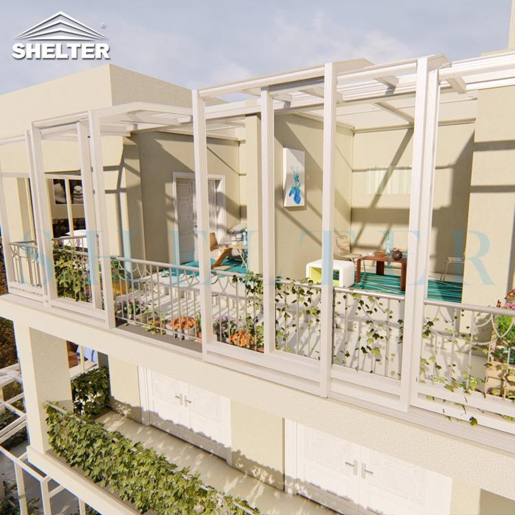 多拱移动阳光房-靠墙单坡移动阳光房-赛尔特移动露台阳光房
