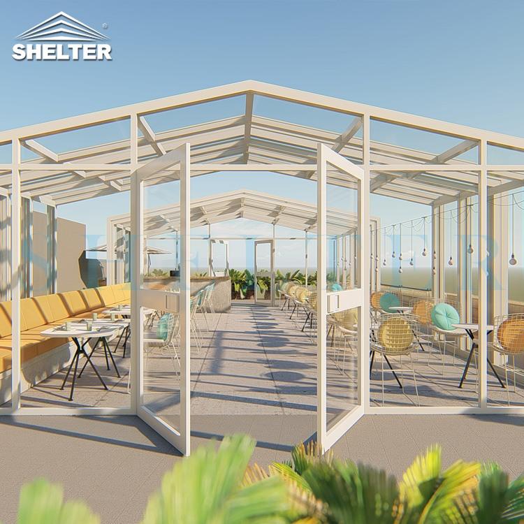 人字形独立楼顶餐厅-移动阳光房餐厅-赛尔特移动人字形阳光房餐厅