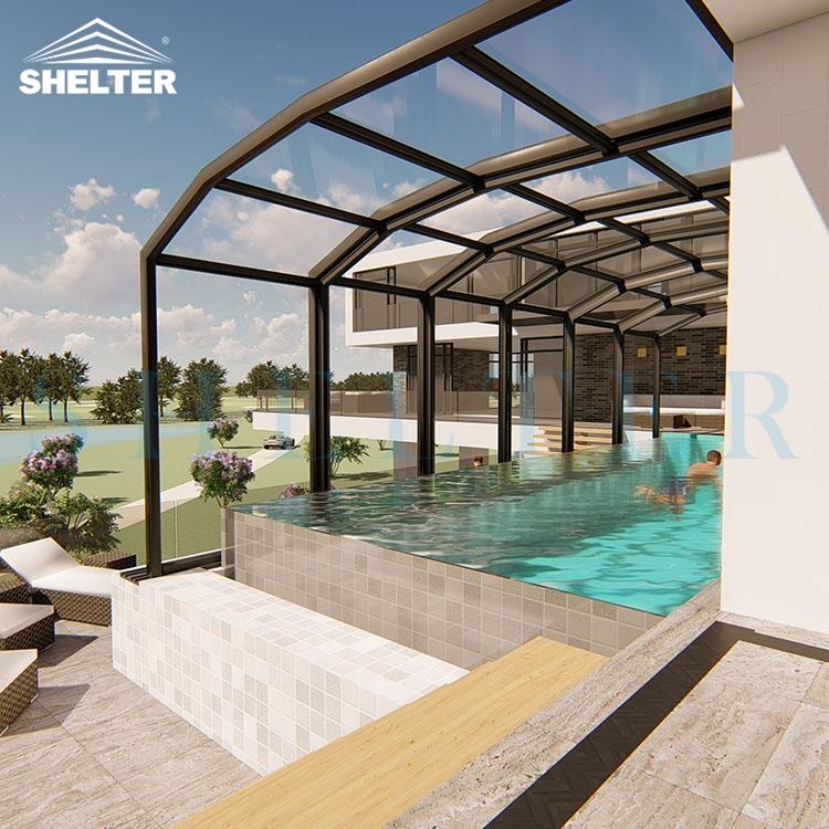 靠墙多拱泳池阳光房-伸缩泳池阳光房-赛尔特伸缩泳池阳光房