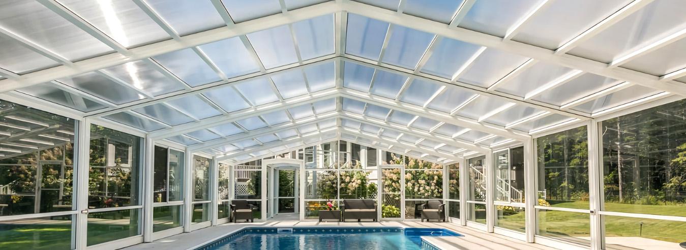 大型泳池阳光房-酒店户外泳池盖-赛尔特玻璃房