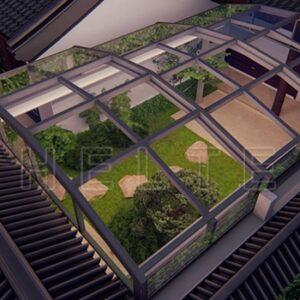 中式天井盖-家用天井盖-赛尔特天井盖阳光房