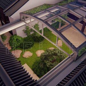 中式天井盖-滑动天井盖-赛尔特天井盖阳光房